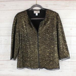 Joseph Ribkoff Size 16 Gold Blazer Jacket Zip